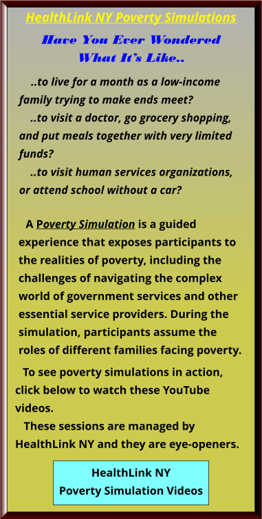 Poverty Simulations